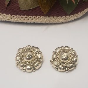 Vintage Silver tone clip on earrings